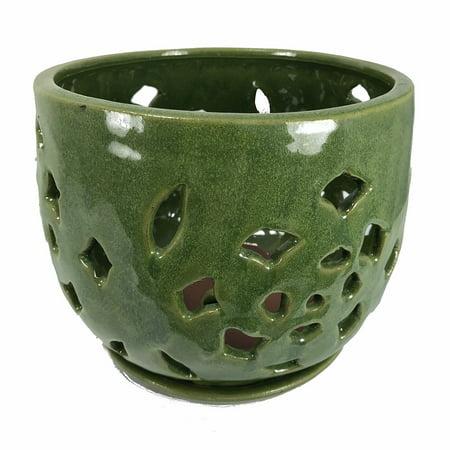 Flower Cut Glazed Ceramic Orchid Pot/Saucer - Grass Green - 7.5