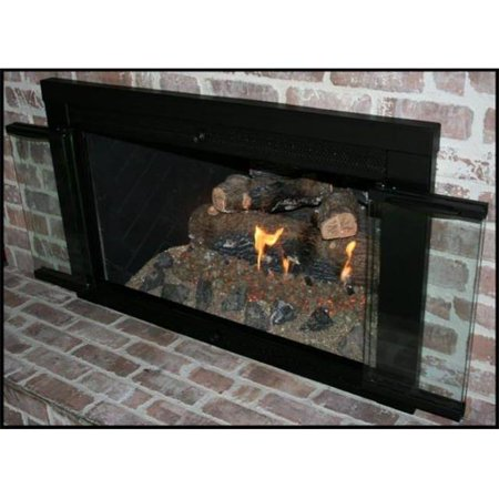 Mr. Flame 70159 Black Finish Smoked 40 X 33 in. Fireplace Clear Glass