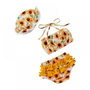 Baby Cute Sunflower Swimsuit, Swimwear Swimming Trunk Swimming Cap Three-piece Set for 3M-24M