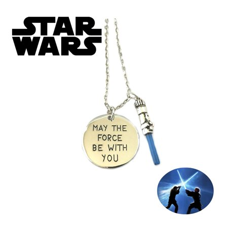 Star Wars Necklace Pendant - May the Force Be with You (Blue Lightsaber) - Movies Sci Fi Cosplay Jewelry by Superheroes