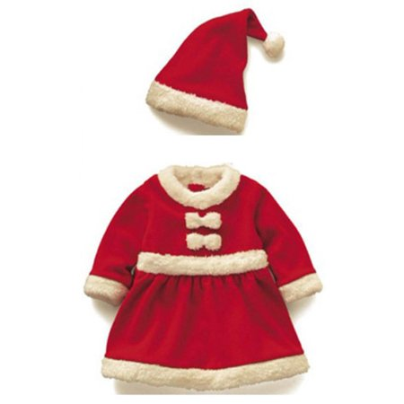 Kacakid Baby Kids Girls Santas Christmas Suits Dress Bow Cotton Clothes Skirt + Hat 2Pcs - Baby Girl Santa Suit