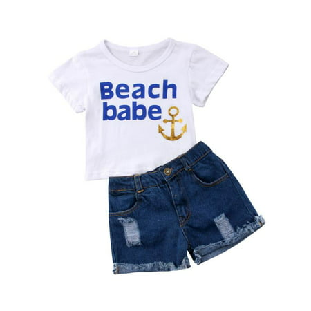 Hot Summer Baby Girls Casual Clothes Set Toddler Kids Short Sleeve T-Shirt Top+ Shredded Short Jeans Outfits - Hot Girl With Clothes