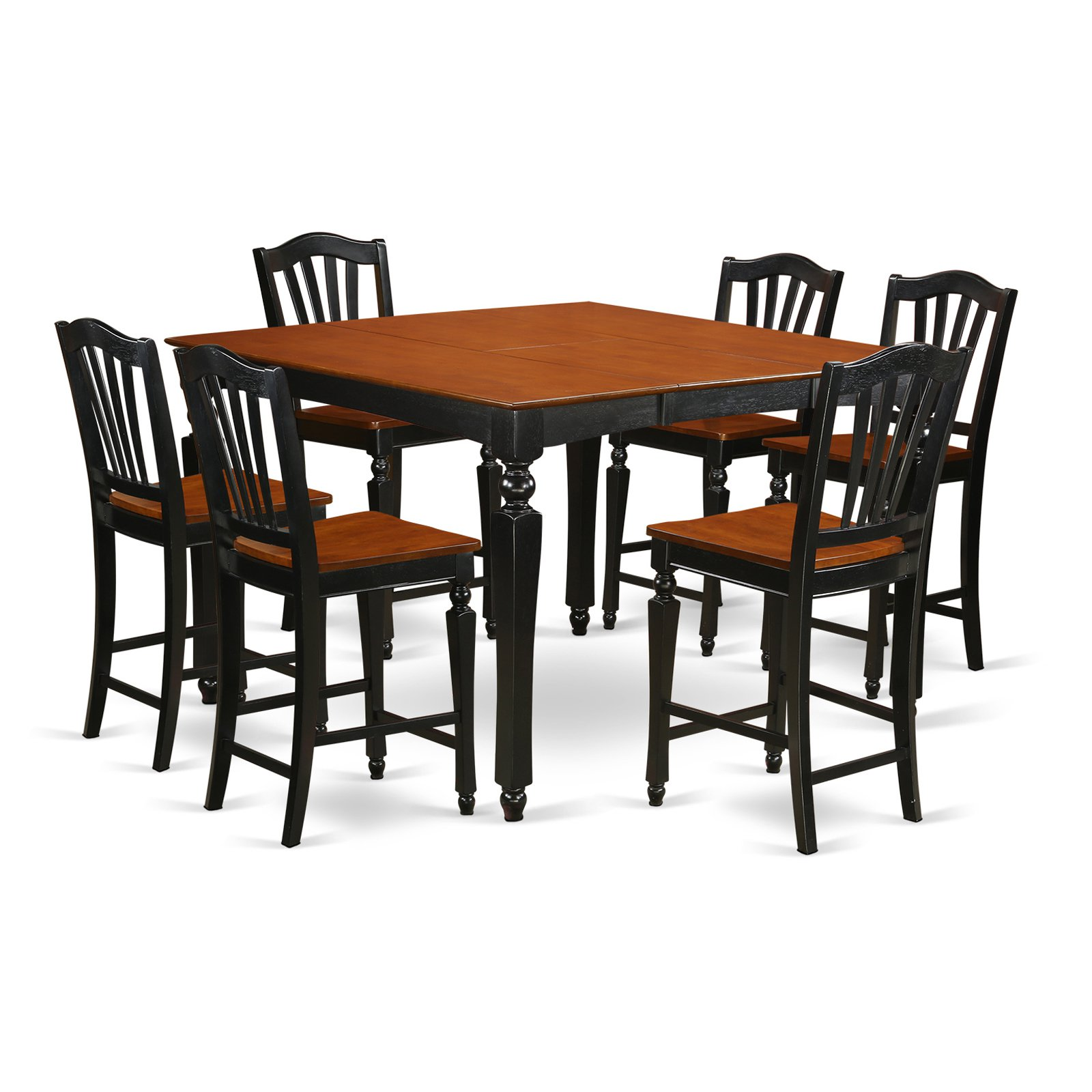 East West Furniture Chelsea 7 Piece High Splat Dining Table Set