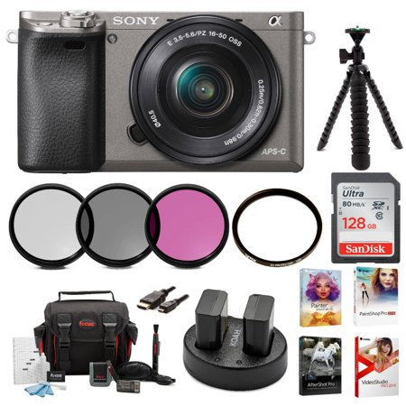 Sony Alpha a6000 Camera (Graphite) with 16-50mm Lens and Accessory Bundle