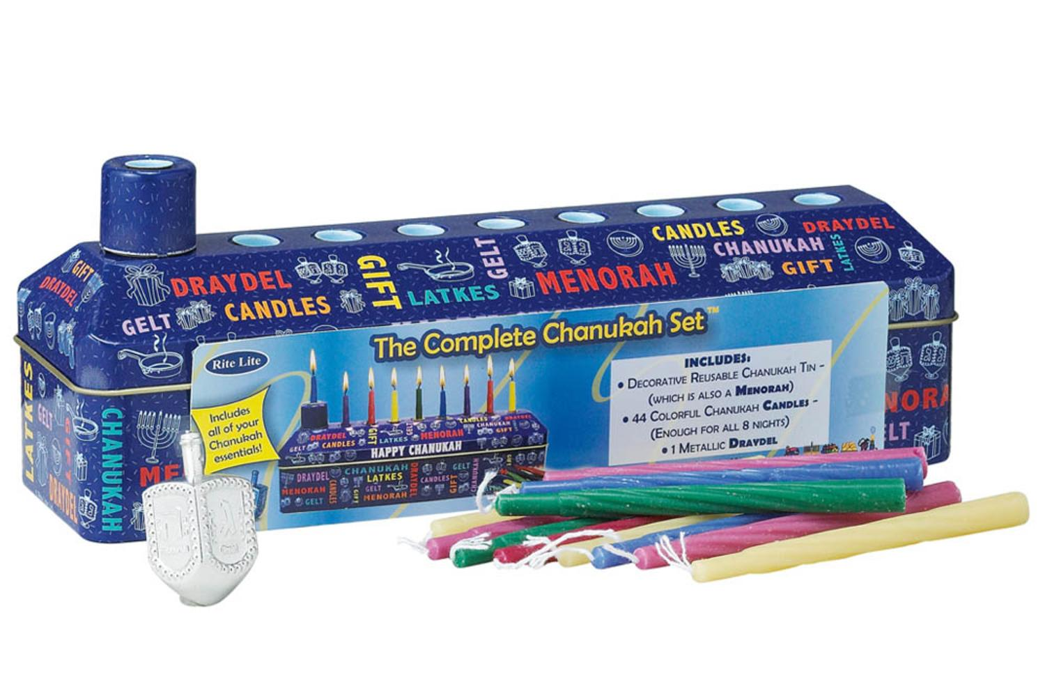 46pc Complete Hanukkah Tin Kit Menorah, Candles and Dreidel by Rite Lite