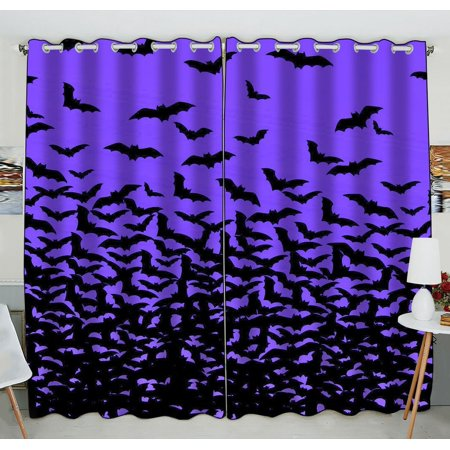 GCKG Halloween Thousands of Bats Window Curtain Kitchen Curtain Size 52(W) x 84 inches (Two Piece)](Halloween Drake)