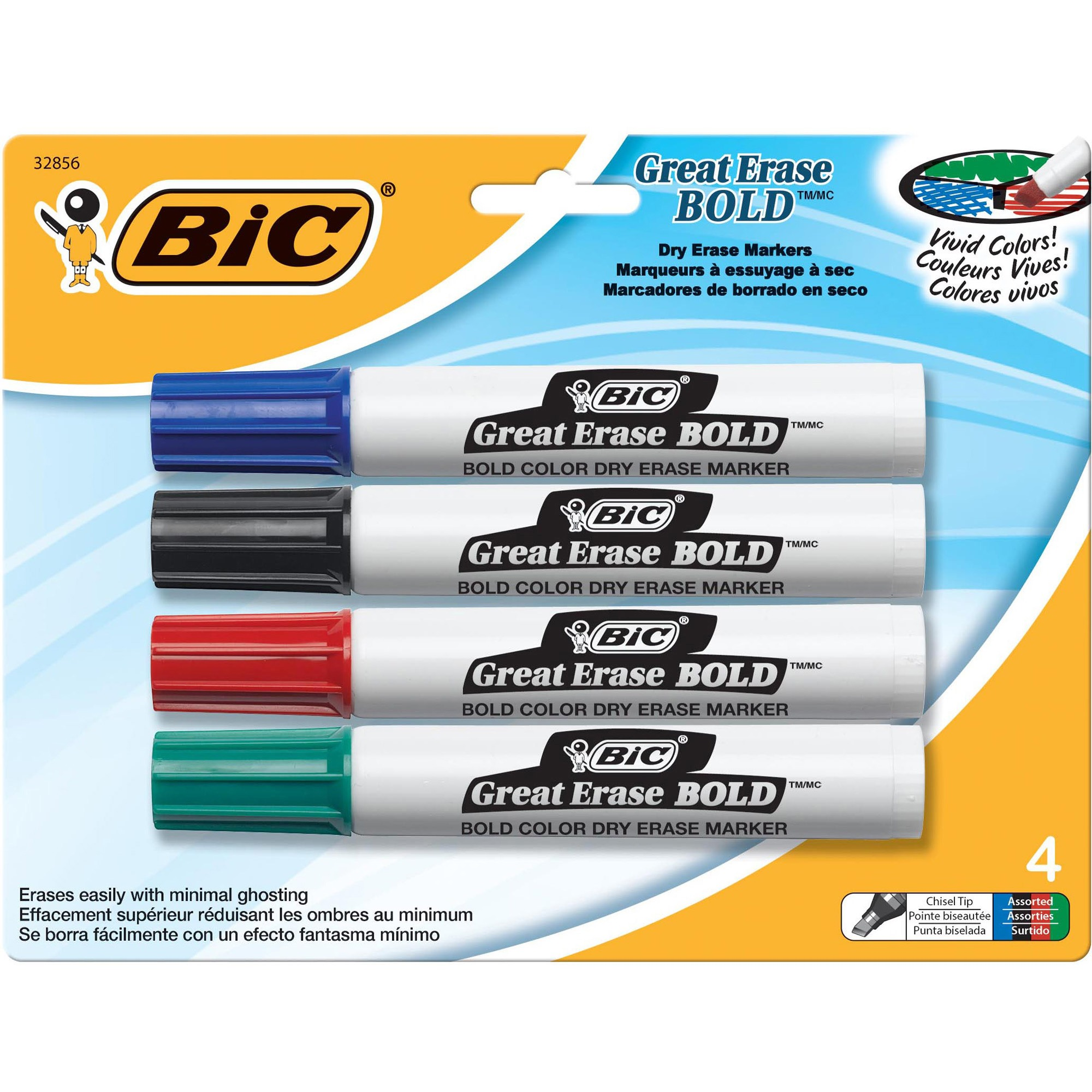 BIC Great Erase Bold Tank-Style Dry Erase Marker, Chisel Tip, Assorted, 4/Pack