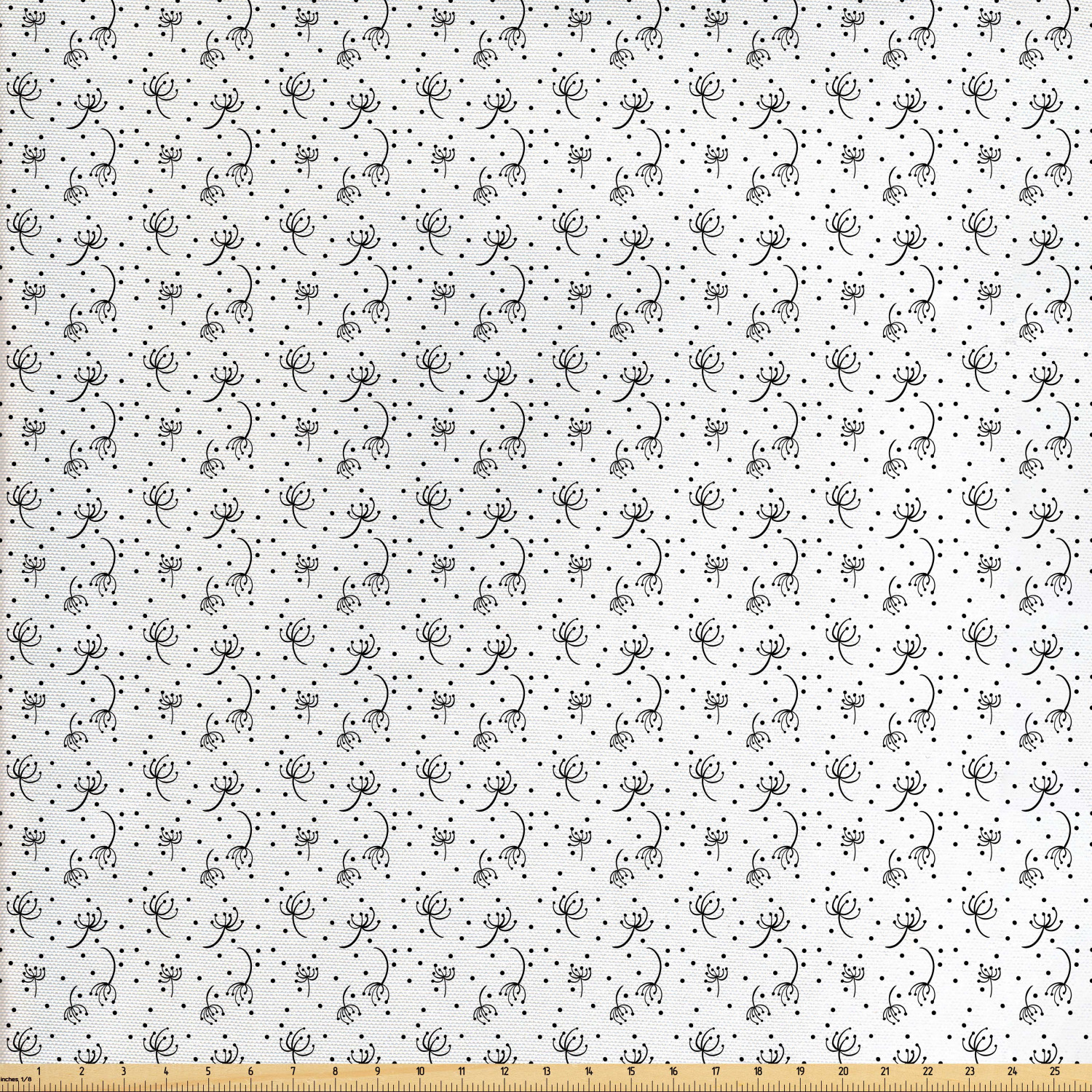 Black And White Fabric By The Yard Abstract Dandelions Flying In The Air Monochrome Curly Stems And Dots Decorative Fabric For Upholstery And Home Accents By Ambesonne Walmart Com Walmart Com
