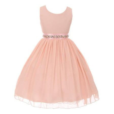 Good Girl Girls Pink Studded Chiffon Yoru Junior Bridesmaid Dress (Pink Girls Dresses)