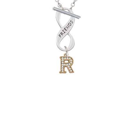 Gold Tone Small Crystal Initial   R   Friends Infinity Toggle Chain Necklace