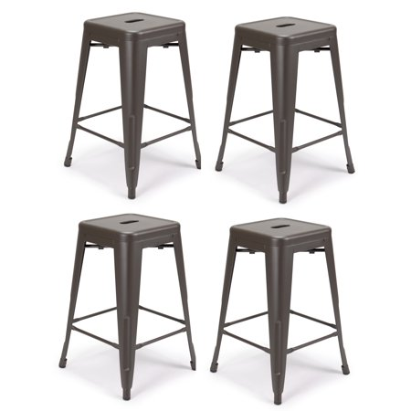 Fantastic Set Of 4 Metal Bar Stool 24 Milani Gunmetal Gray Stackable Squirreltailoven Fun Painted Chair Ideas Images Squirreltailovenorg