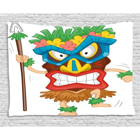 Tiki Bar Decor Tapestry, Native Man Wearing Mask Illustration Cartoon Tribal Costume Primitive Ritual, Wall Hanging for Bedroom Living Room Dorm Decor, 60W X 40L Inches, Multicolor, by Ambesonne - Tiki Costume