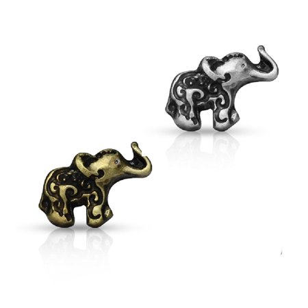 - Antique Gold/Silver Elephant Top 20ga Nose Stud