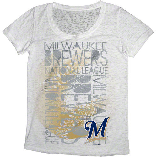 MLB - Milwaukee Brewers White Women's Oversized Burnout Scoop Neck T-Shirt