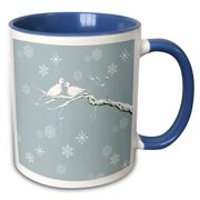 3dRose Two Turtle Doves and pretty snowflake ornaments at Christmas - Two Tone Blue Mug, 11-ounce