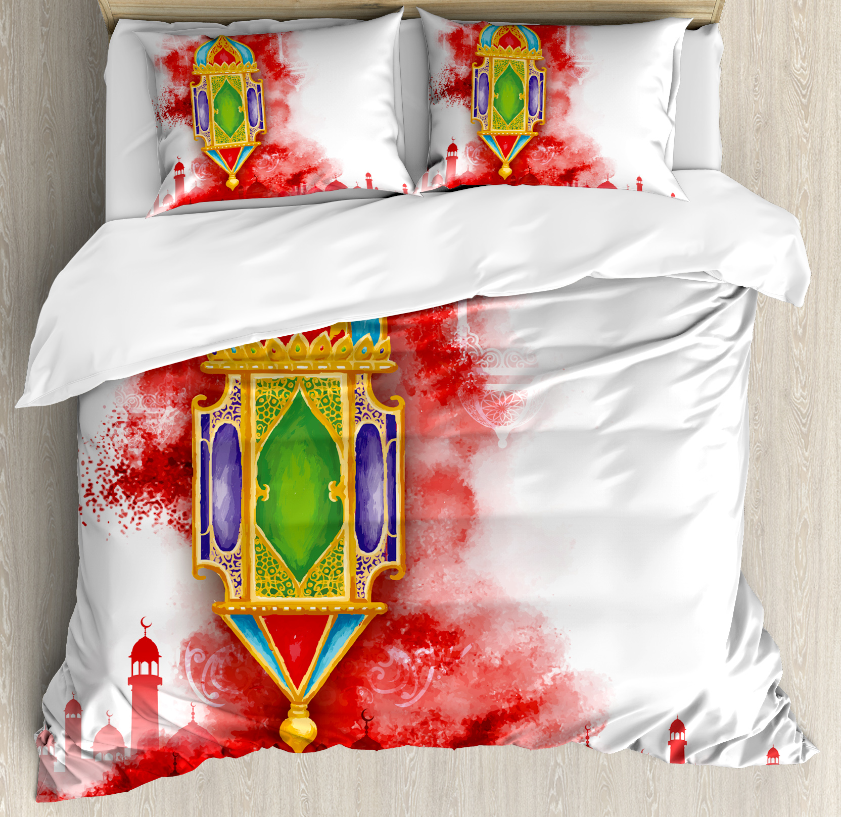 Lantern Queen Size Duvet Cover Set, Greeting of Ramadan Kareem Mosques Crescents... by Kozmos