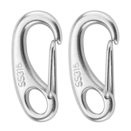 2PCS Marine Boat Stainless Steel Spring Snap Hook Clips Quick Link Carabiner Buckle Eye Shackle Lobster Claw Clasps ()