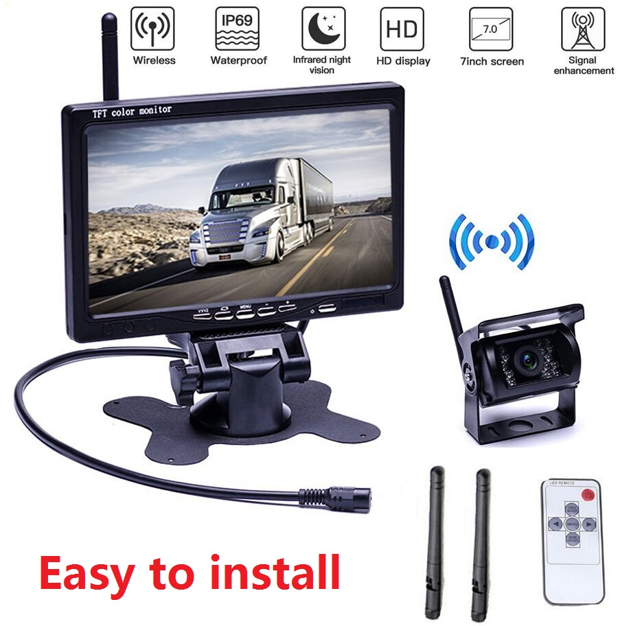 """Digital HD 1080P Waterproof Front Rear Side View Camera Extra Stable Signal DVR System Xroose TW4 Wireless Backup Camera Kit 7/"""" Monitor W//Upgraded Recorder Backing Up for RV Trailer Truck Camper Bus"""