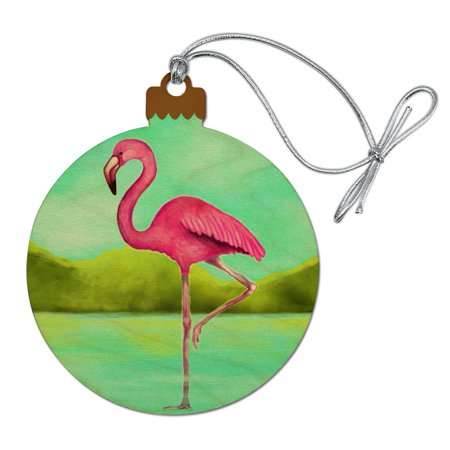 Pink Flamingo in Water Wood Christmas Tree Holiday Ornament