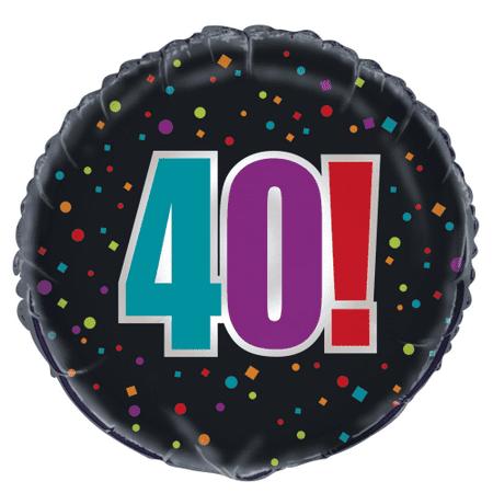 Birthday Cheer 40th Birthday 18 Inch Foil Balloon