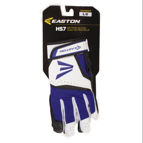 Easton A121833PRYL HS7 Youth Batting Gloves White/Royal L