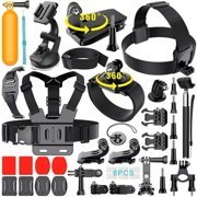 35-In-1 Action Camera Accessory Kit Compatible with GoPro Hero 8 7 6 5 4 3 2, Accessories Kit for Xiaomi Yi 4K/WiMiUS/Lightdow/DBPOWER, Black Silver