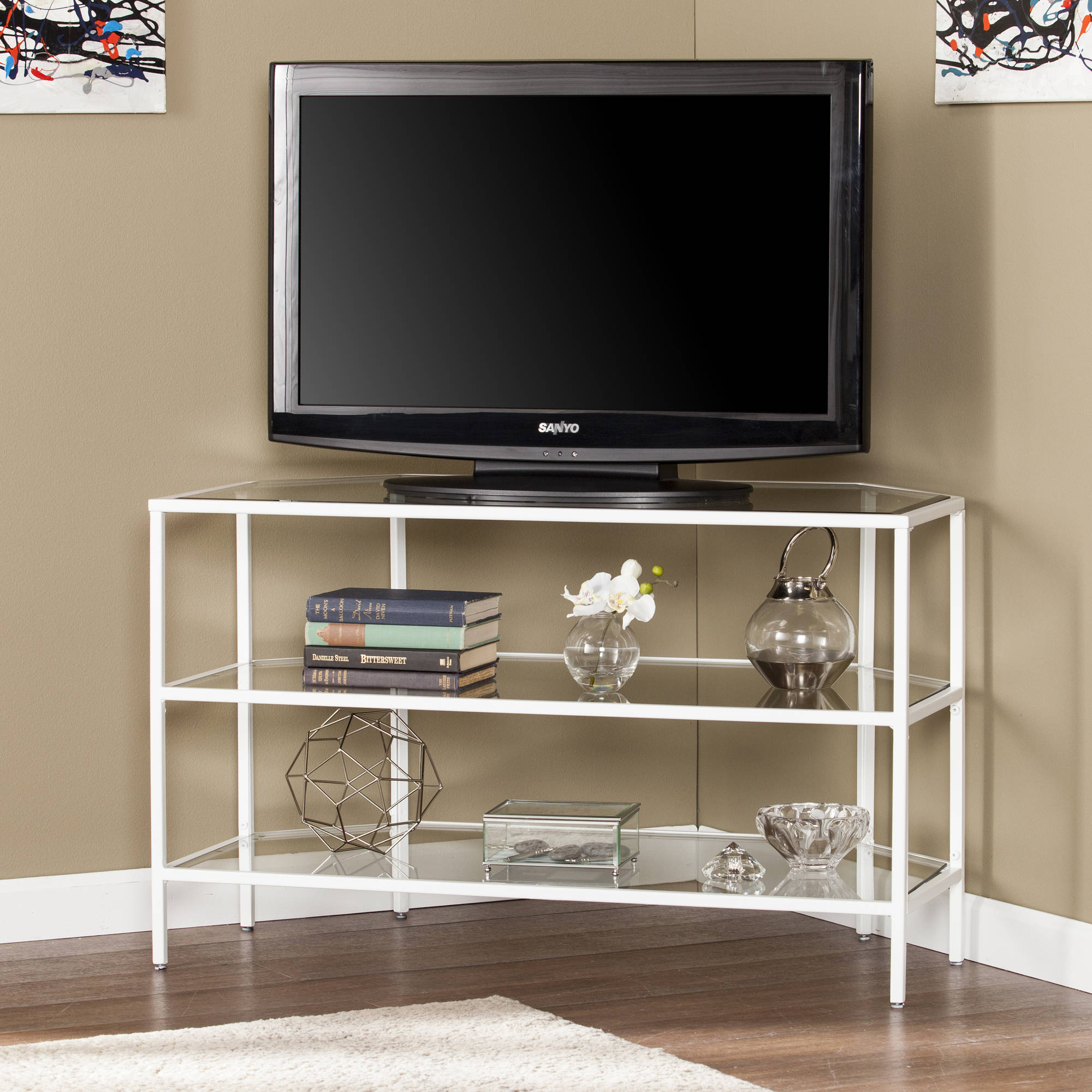 Southern Enterprises White Kane Metal/Glass Corner-Optional TV Stand for TVs up to 37""