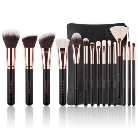 Pro Makeup Brushes Set, Docolor 15 Pcs Classic Goat Bristles Makeup Brush Kit with Cosmetic Bag ()