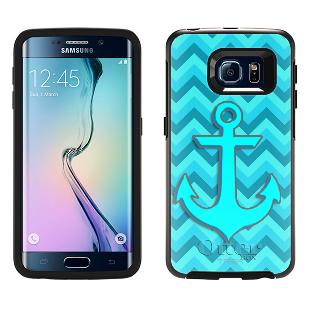 OtterBox Symmetry Samsung Galaxy S6 Edge Case -Anchor on Chevron Turquoise Teal OtterBox Case