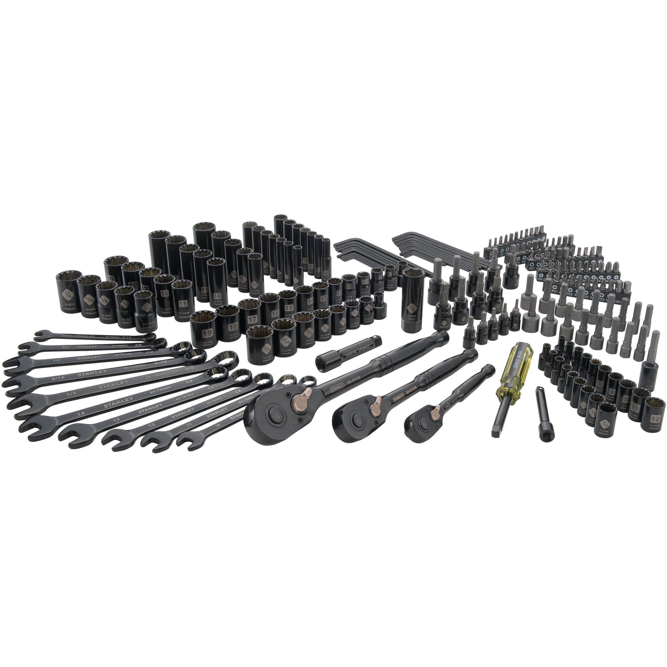 STANLEY STMT81190 207-Piece Black Chrome Universal Mechanics Tool Set