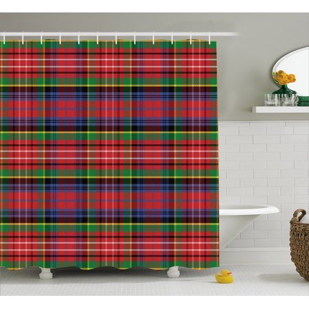 Plaid Shower Curtain Caledonia Scottish Traditional Pattern Tartan Motif Abstract Squares Ornate Quilt Fabric Bathroom Set With Hooks Multicolor
