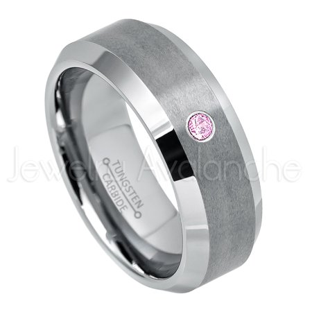 Pink Tourmaline Mens Ring - Personalized Tungsten Wedding Band - 0.07ct Solitaire Pink Tourmaline Ring - 8mm Beveled Edge Mens Tungsten Ring - Custom Made October TN003BS