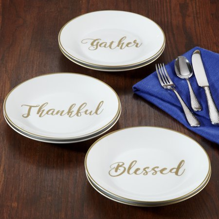 Better Homes & Gardens Sentimental Collection Appetizer Plates, Assorted Sentiments, Set of 6