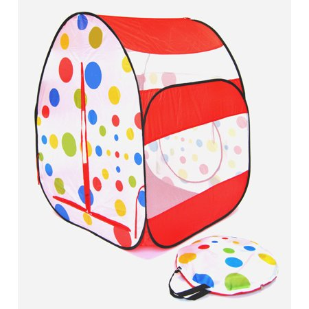 Red Polka Dot Twist Play Tent Ball Pit Playhouse for Kids w/ Safety Meshing & Storage Tote (Kid Store Online)