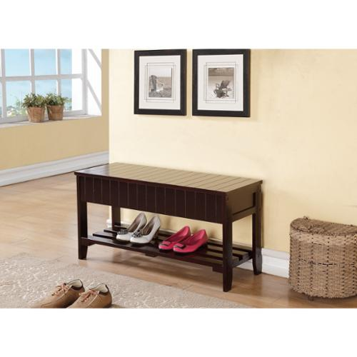 OH Espresso Solid Wood Bench with Shoe Storage
