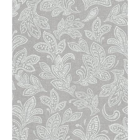 Crown Ida Grey Scroll Wallpaper