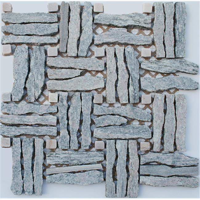 Intrend Tile Basket Wave Natural Stone Landscape Gray Color - Mixed
