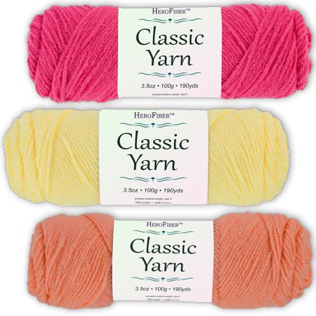 Soft Acrylic Yarn 3-Pack, 3.5oz / ball, Red Grenadine + Yellow Maize + Pink Coral. Great value for knitting, crochet, needlework, arts & crafts projects, gift set for beginners and pros