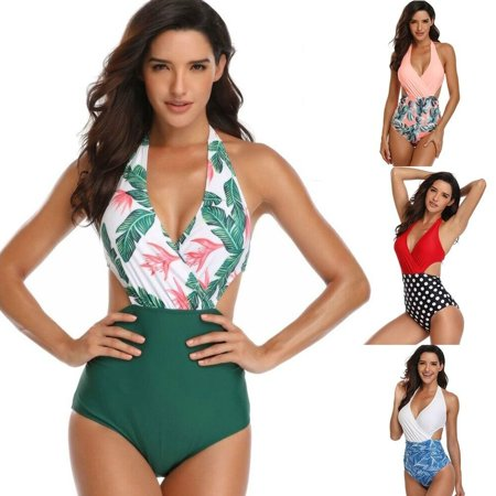 New Wave Swing (Summer New Fashion Ladies Bikini Leaf Print Red Wave Point One-piece Bikini Suit Beach Swimming Swimsuit)