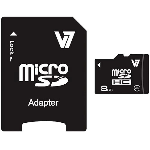 V7 8GB microSDHC Class 4 Memory Card with Adapter
