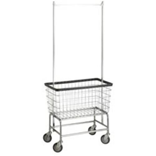 R&B Wire 200F56 Large Capacity Wire Frame Metal Laundry Cart with Double Pole Rack