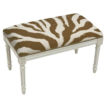 - 123 Creations CS009WBCBR Brown Zebra Stripes Upholstered Linen Solid Wood Bench with Nailheads - Antique White