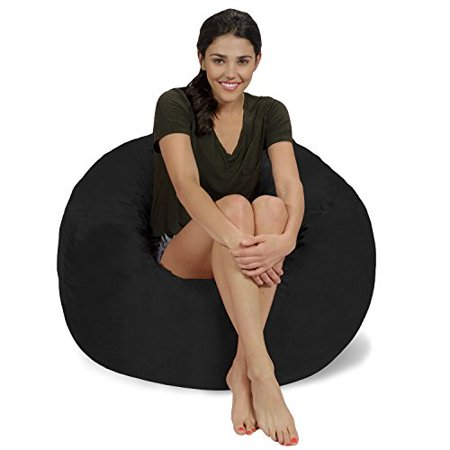 Outstanding Chill Sack Bean Bag Chair Large 3 Memory Foam Furniture Bean Bag Big Sofa With Soft Micro Fiber Cover Black Micro Suede Andrewgaddart Wooden Chair Designs For Living Room Andrewgaddartcom