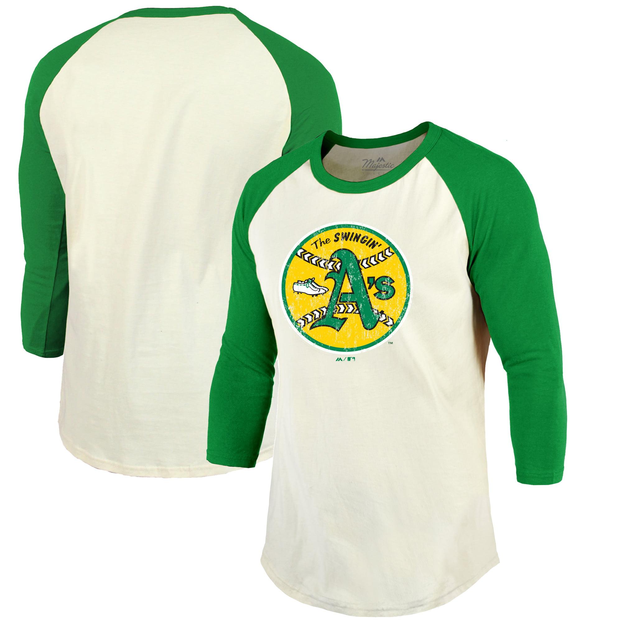Oakland Athletics Majestic Threads Cooperstown Collection Raglan 3/4-Sleeve T-Shirt - Cream/Green