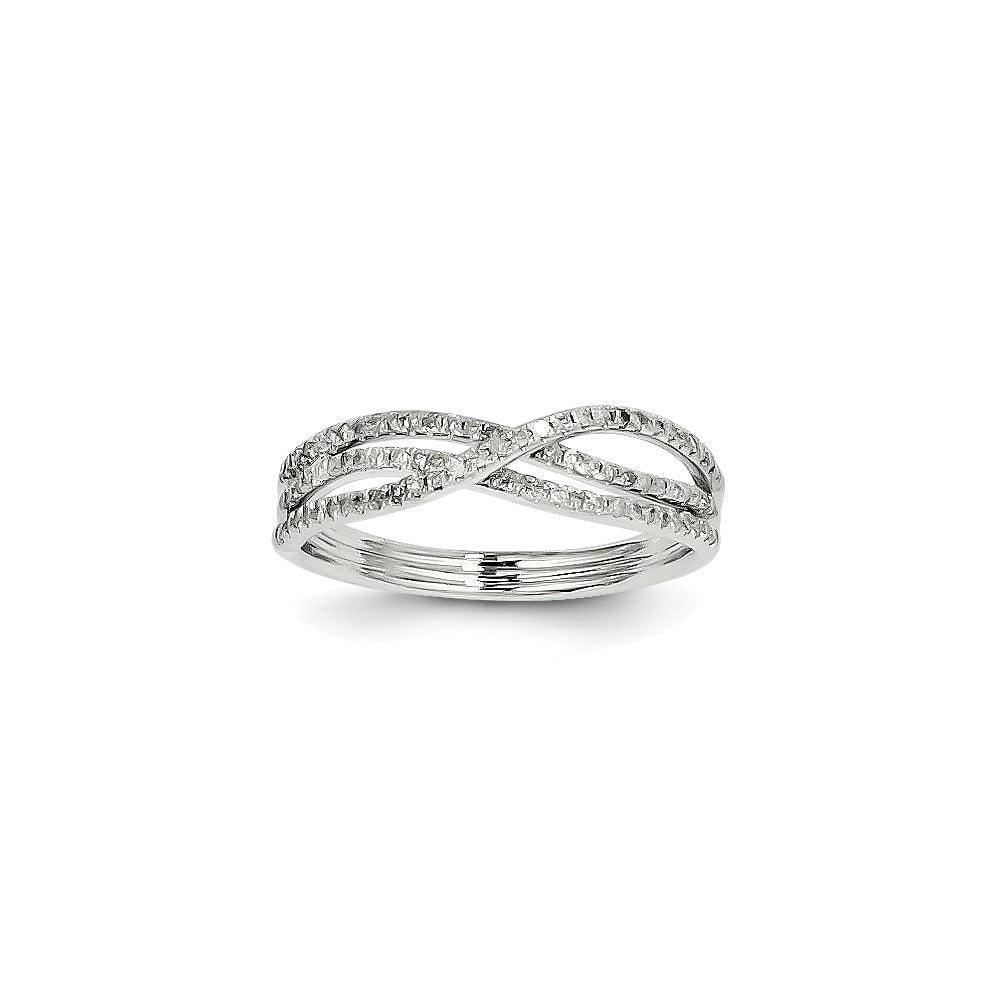 14K White Gold Diamond Ring. Carat Wt- 0.25ct