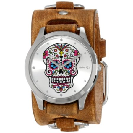 Nemesis Women's BFRB925S Punk Rock Collection Silver Sugar Skull Leather Cuff Band (Skull Cuff Watch)