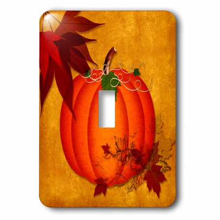 3dRose Large Orange Pumpkin with Golden Grunge and Autumn Maple Leaves - Single Toggle Switch - Pumpkin With Leaves