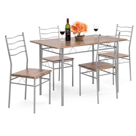 Best Choice Products 5-Piece 4-foot Modern Wooden Kitchen Table Dining Set w/ Metal Legs, 4 Chairs, Brown/Silver ()