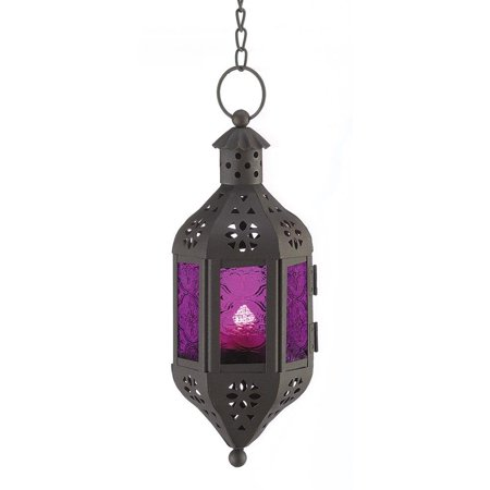 Metal Candle Lantern, Hanging Mystical Moroccan Modern Decorative Candle (Black Hanging Lantern)