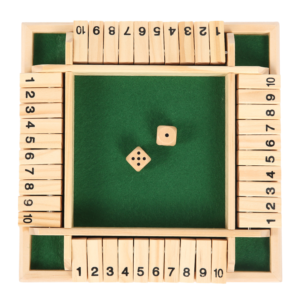 4 Players Shut The Box Family Game Wooden Traditional Pub Dice Kids Children US